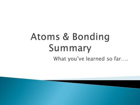 What you've learned so far…..  Atoms form bonds in more than one way  In IONIC bonding, atoms give up or gain electrons  In COVALENT bonding, atoms.