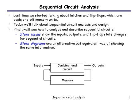 Sequential circuit analysis1 Sequential Circuit Analysis Last time we started talking about latches and flip-flops, which are basic one-bit memory units.