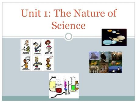 Unit 1: The Nature of Science. Earth Science 1. What is science? 1.Science is the a process of observing, studying, and thinking about things in your.