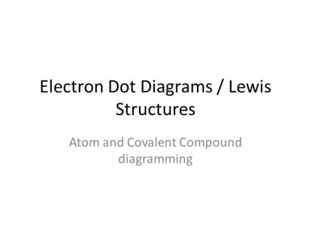 Electron Dot Diagrams / Lewis Structures Atom and Covalent Compound diagramming.