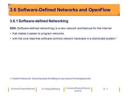 3.6 Software-Defined Networks and OpenFlow