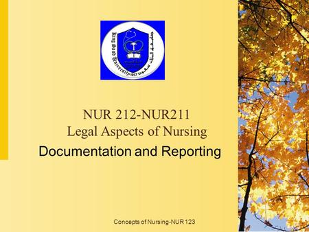 Concepts of Nursing-NUR 123 Documentation and Reporting NUR 212-NUR211 Legal Aspects of Nursing.