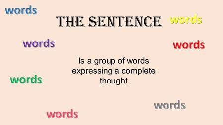 The Sentence Is a group of words expressing a complete thought.