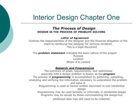 Interior Design Chapter One The Process of Design DESIGN IS THE PROCESS OF PROBLEM SOLVING Letter of Agreement Outlines the responsibilities of the designer.