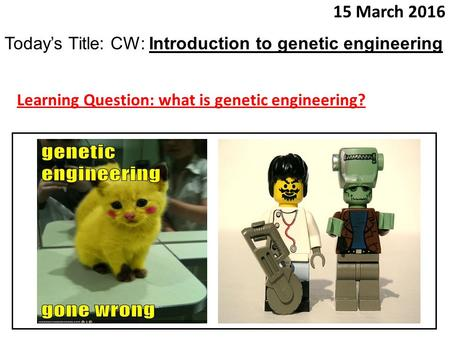 15 March 2016 Today's Title: CW: Introduction to genetic engineering Learning Question: what is genetic engineering?