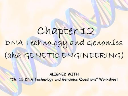 "Chapter 12 DNA Technology and Genomics (aka GENETIC ENGINEERING) ALIGNED WITH ""Ch. 12 DNA Technology and Genomics Questions"" Worksheet."
