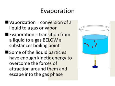 Evaporation Vaporization = conversion of a liquid to a gas or vapor Evaporation = transition from a liquid to a gas BELOW a substances boiling point Some.