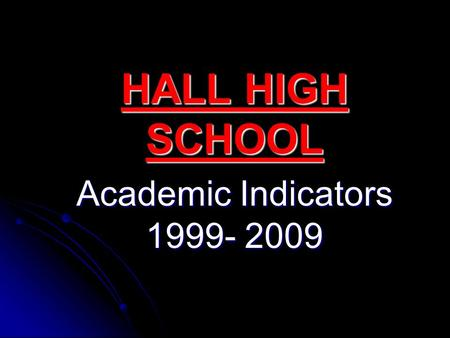 HALL HIGH SCHOOL Academic Indicators 1999- 2009. Students meeting or exceeding the Illinois Learning Standards (reading, math, science) 2002………………………………..43%2003………………………………..58%2004………………………………..42%2005………………………………..45%2006………………………………..48%2007…………………………