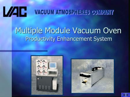 Multiple Module Vacuum Oven Productivity Enhancement System.