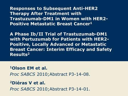 Responses to Subsequent Anti-HER2 Therapy After Treatment with Trastuzumab-DM1 in Women with HER2- Positive Metastatic Breast Cancer 1 A Phase Ib/II Trial.