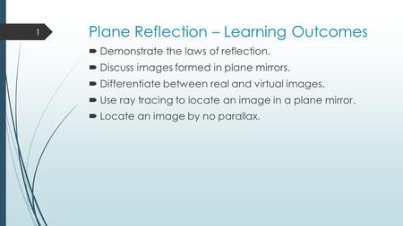 Plane Reflection – Learning Outcomes  Demonstrate the laws of reflection.  Discuss images formed in plane mirrors.  Differentiate between real and virtual.