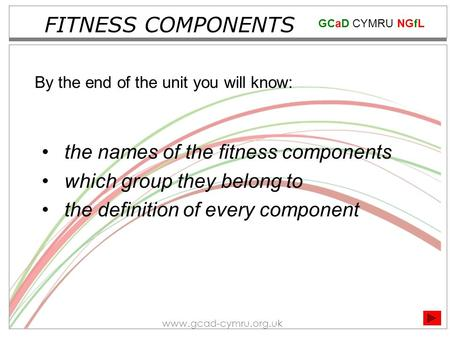 GCaD CYMRU NGfL www.gcad-cymru.org.uk FITNESS COMPONENTS the names of the fitness components which group they belong to the definition of every component.