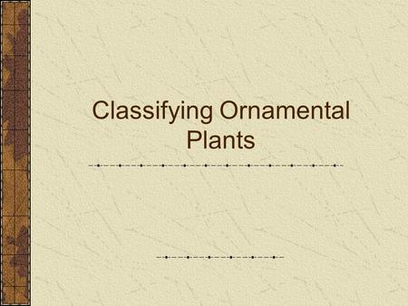 Classifying Ornamental Plants. At the completion of this unit students will be able to: A. Describe the system used for naming and classifying plants.