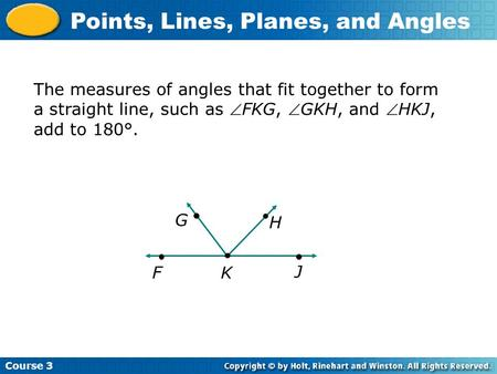 Course 3 Points, Lines, Planes, and Angles The measures of angles that fit together to form a straight line, such as FKG, GKH, and HKJ, add to 180°.