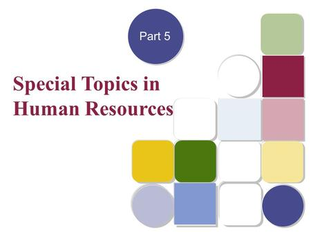 Copyright © 2003 by The McGraw-Hill Companies, Inc. All rights reserved. Part 5 Special Topics in Human Resources.