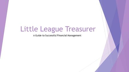 Little League Treasurer A Guide to Successful Financial Management.