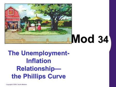 Copyright © 2004 South-Western The Unemployment- Inflation Relationship— the Phillips Curve Mod 34.