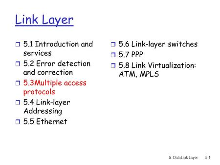 5: DataLink Layer5-1 Link Layer r 5.1 Introduction and services r 5.2 Error detection and correction r 5.3Multiple access protocols r 5.4 Link-layer Addressing.