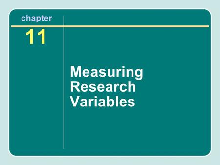 Measuring Research Variables