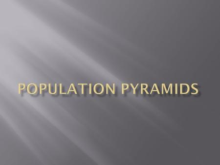  A population pyramid is a pyramid shaped diagram showing the age and sex distribution of a population. Figure 1: A population pyramid.