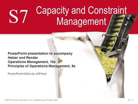 S7 - 1© 2011 Pearson Education, Inc. publishing as Prentice Hall S7 Capacity and Constraint Management PowerPoint presentation to accompany Heizer and.