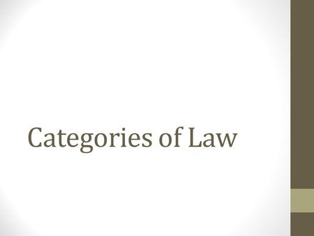 Categories of Law. Substantive and Procedural Law Domestic and International Law Public and Private Law.