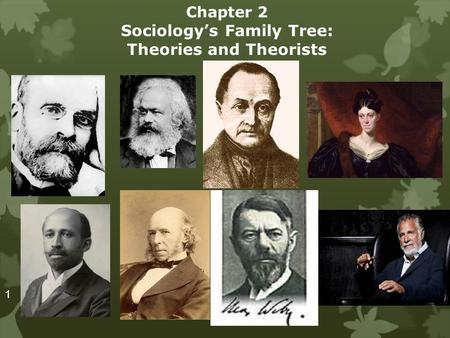 Chapter 2 Sociology's Family Tree: Theories and Theorists 1.
