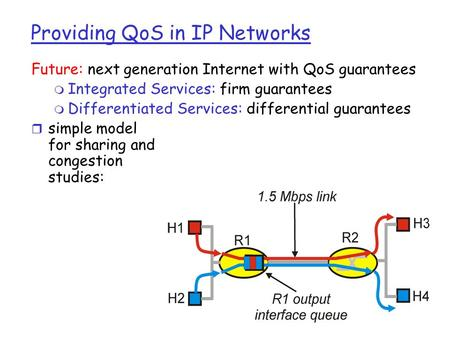 Providing QoS in IP Networks Future: next generation Internet with QoS guarantees m Integrated Services: firm guarantees m Differentiated Services: differential.