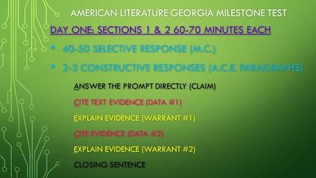 AMERICAN LITERATURE GEORGIA MILESTONE TEST DAY ONE: SECTIONS 1 & 2 60-70 MINUTES EACH 40-50 SELECTIVE RESPONSE (M.C.) 40-50 SELECTIVE RESPONSE (M.C.) 2-3.