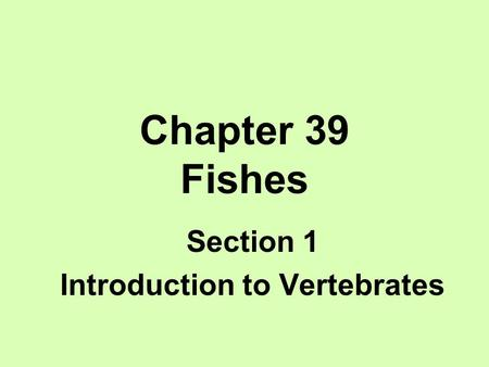Section 1 Introduction to Vertebrates
