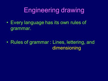 Engineering drawing Every language has its own rules of grammar. Rules of grammar : Lines, lettering, and dimensioning.