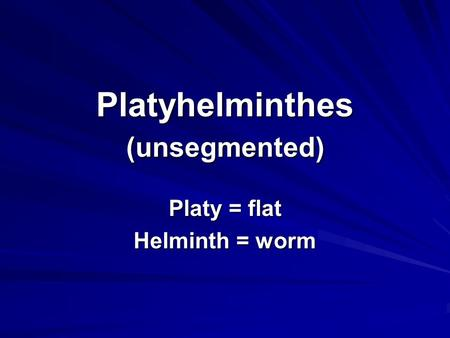 Platyhelminthes (unsegmented) Platy = flat Helminth = worm.
