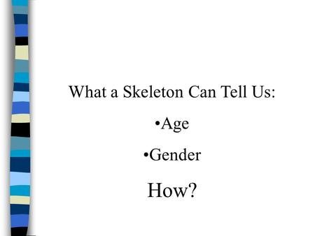 What a Skeleton Can Tell Us: Age Gender How?. As a person ages: n The cartilage that we a born with ossifies (turns into bone) n The skull changes shape.