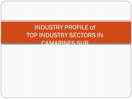 INDUSTRY PROFILE of TOP INDUSTRY SECTORS IN CAMARINES SUR.