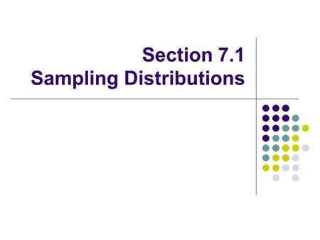 Section 7.1 Sampling Distributions. Vocabulary Lesson Parameter A number that describes the population. This number is fixed. In reality, we do not know.