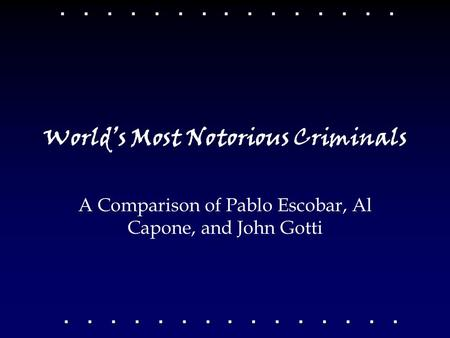 World's Most Notorious Criminals