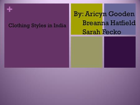 + Clothing Styles in India By: Aricyn Gooden Breanna Hatfield Sarah Fecko.