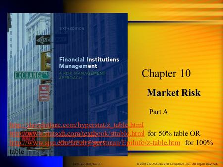 Market Risk Chapter 10 © 2008 The McGraw-Hill Companies, Inc., All Rights Reserved. McGraw-Hill/Irwin Part A