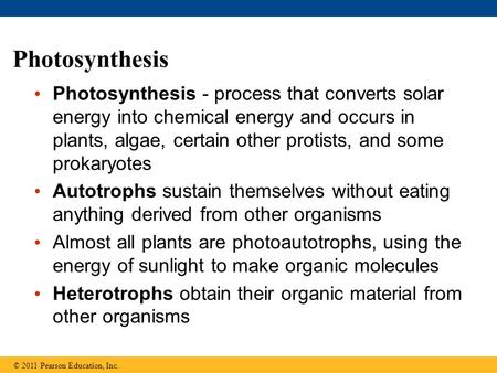 Photosynthesis Photosynthesis - process that converts solar energy into chemical energy and occurs in plants, algae, certain other protists, and some prokaryotes.