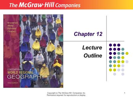 Copyright (c) The McGraw-Hill Companies, Inc. Permission required for reproduction or display. 1 Lecture Outline Chapter 12.