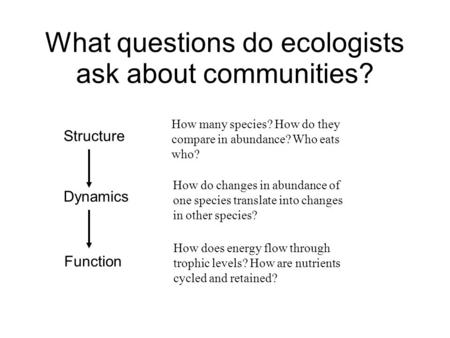 What questions do ecologists ask about communities? Structure Dynamics Function How many species? How do they compare in abundance? Who eats who? How do.