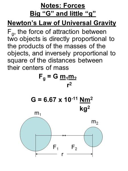 "Notes: Forces Big ""G"" and little ""g"" Newton's Law of Universal Gravity F g, the force of attraction between two objects is directly proportional to the."