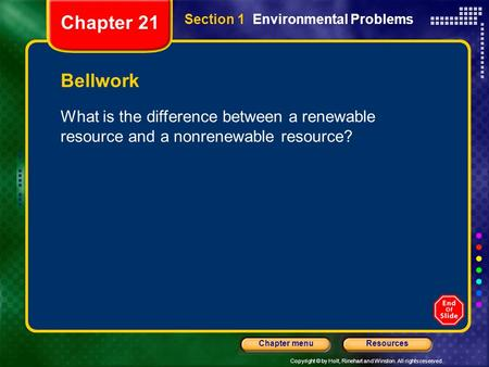Copyright © by Holt, Rinehart and Winston. All rights reserved. ResourcesChapter menu Section 1 Environmental Problems Bellwork What is the difference.