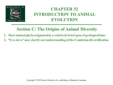 CHAPTER 32 INTRODUCTION TO ANIMAL EVOLUTION Copyright © 2002 Pearson Education, Inc., publishing as Benjamin Cummings Section C: The Origins of Animal.