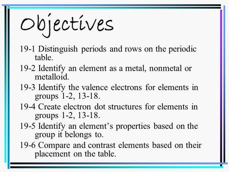 Objectives 19-1 Distinguish periods and rows on the periodic table. 19-2 Identify an element as a metal, nonmetal or metalloid. 19-3 Identify the valence.