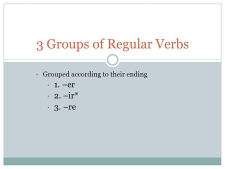 Grouped according to their ending 1. –er 2. –ir* 3. –re 3 Groups of Regular Verbs.