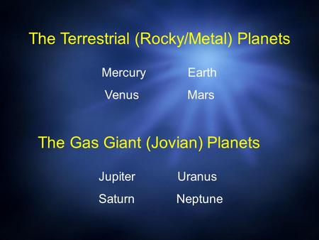 The Gas Giant (Jovian) Planets Jupiter Uranus Saturn Neptune The Terrestrial (Rocky/Metal) Planets Mercury Earth Venus Mars.