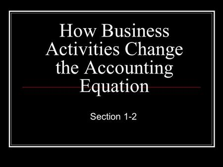 How Business Activities Change the Accounting Equation Section 1-2.