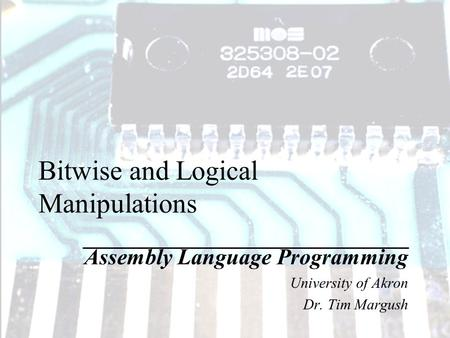 Bitwise and Logical Manipulations Assembly Language Programming University of Akron Dr. Tim Margush.