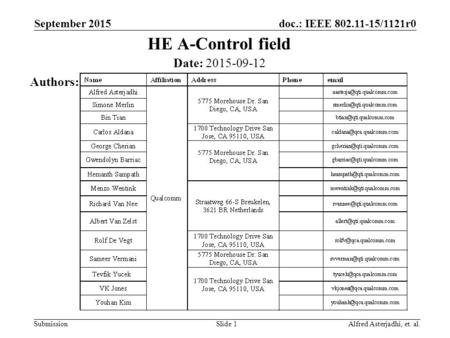 Doc.: IEEE 802.11-15/1121r0 Submission HE A-Control field Slide 1 Date: 2015-09-12 Authors: Alfred Asterjadhi, et. al. September 2015.